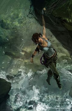 This piece of concept art is based on Tomb raider and the character Lara Croft hanging from a cliff. This is well done because it tells the story in a simple picture, Most of her adventures are dangerous and full of possible deadly scenes. Tomb Raider Lara Croft, New Lara Croft, Laura Croft, Lara Croft 2013, Tom Raider, Tomb Raider 2013, Fanart, Lara Croft Disfraz, Video Game Art