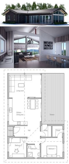 Small house plan with efficient room planning, vaulted ceiling and big windows in the living area, two bedrooms. Small house design in modern architecture. Floor Plan from ConceptHome.com