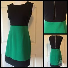 """CAROL LITTLE COLOR BLOCK DRESS Beautiful green and black color block dress by Carol Little. In like new condition. Size 6. 25"""" length 36"""" bust. 95% polyester 5% spandex and 100% polyester lining. No trades or PayPal. Our closet offers a 10% discount off two and 15% off three items when bundled using the bundle feature. Smoke free home. Thank you for stopping by @treasuresbytrac for a visit Carole Little Dresses"""
