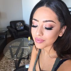 #ShareIG A closer look at this soft glam I did on my client @daliakaissi , easy and beautiful to recreate for anyone! brows in dark brown Anastasia brow kit eyes using Semi -Sweet chocolate palette from @toofaced Inglot Gel liner 77 Ardell wispies doubled up @ardell_lashes MAKEUP FOREVER N153 HD foundation @makeupforeveroffical glory skin using Mary loumanizer @thebalm_cosmetics , Bronze bronzer and Razin blush from MAC Lips in Starlet and Demure matte paints from @girlactik