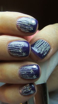Purple nails- starry rain by Valkira from Nail Art Gallery