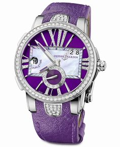 Master Horologer: Ulysse Nardin Executive Lady (Stainless steel case, Gem-set, white mother-of-pearl or purple or mahogany color dials)