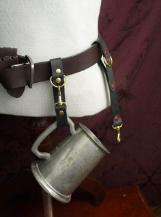 Goth Steampunk Mug hook, belt hanger, belt loop, Mug Frog, Black oxblood or brown Leather, Brass /SCA Garb, LARP, Pirate, Renfaire, festival