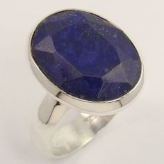 925 Solid Sterling Silver Natural LAPIS LAZULI Gemstone Stunning Ring Size US 6…