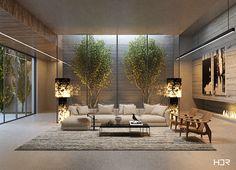 Loft on Behance Residential Interior Design, Contemporary Interior Design, Interior Design Living Room, Interior Architecture, Living Room Designs, Luxury Home Decor, Luxury Homes, Living Room Bedroom, Living Room Decor