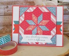 handmade quilt card ... great layout for die cut quilt patch ... die from Gina Marie Designs ... card by Crystal Komara ...