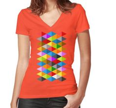 Modern bright funky colorful triangles pattern Women's Fitted V-Neck T-Shirt by #PLdesign #geometric #modern #ColorfulTriangles #redbubble