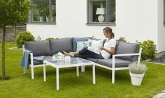 Bilde av JOLIETTE HJØRNEGRUPPE, HVIT 80X80 Outdoor Sofa, Outdoor Furniture Sets, Outdoor Decor, Hygge, Home Decor, Pictures, Decoration Home, Room Decor, Home Interior Design