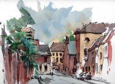 Flickr Urban Sketchers, Sketchbooks, Sketching, Artsy, Watercolor, Drawings, Illustration, Painting, Houses