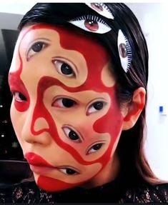 Sfx Makeup, Costume Makeup, Face Makeup, Weird Makeup, Eyeshadow Makeup, Crazy Make Up, How To Make, Crazy Crazy, Maquillage Halloween
