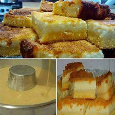 Ingredientes 2 xícaras de açúcar 1 e 1/2 xícara de fubá 1 e 1/2 colher de farinha 2 colheres de manteiga 1 colher de fermento em pó 4 ovos 3 copos de leite 5 colheres de (sopa) de queijo parmesão 2 colheres (sopa) de requeijão cremoso Modo de... Delicious Cake Recipes, Yummy Cakes, Dessert Recipes, Food Cakes, Sweet Desserts, Sweet Recipes, Mini Cakes, Cupcake Cakes, Sweet Corn Cakes