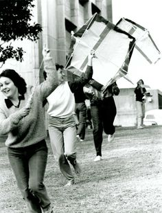 Landscape Architecture students with kites they designed themselves, 1982