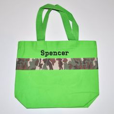 Army Tote Bag with Monogram Name Embroidered on it, Personalized Bag, Swin Bag, Daycare Bag, Toy Bag, Easter Basket Bag