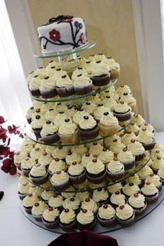 burgundy cakes   Burgundy and Black Cupcake Wedding
