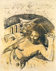 """PaulGauguin.Tahitian Woman with Evil Spirit. c. 1900. Oil transfer drawing, sheet: 22 1/16 x 17 13/16"""" (56.1 x 45.3 cm).Private co..."""