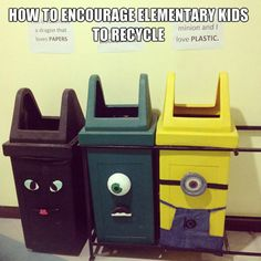 We LOVE this idea to encourage kids to #recycle at school! What are some ideas YOU have? #sustainability #kids