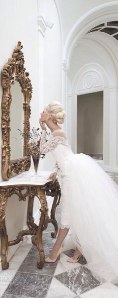 These 21 Ridiculously Stunning Long Sleeved Wedding Dresses will turn heads and warrant a second, or third lavishing look. Lace Wedding Dress With Sleeves, Gorgeous Wedding Dress, Long Sleeve Wedding, Elegant Wedding, Lace Dress, Parisian Wedding, Tulle Lace, Lace Sleeves, Wedding Dresses 2014