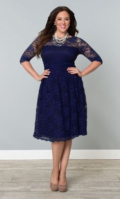 Scalloped Luna Lace Dress, Sapphire (Women's Plus Size)