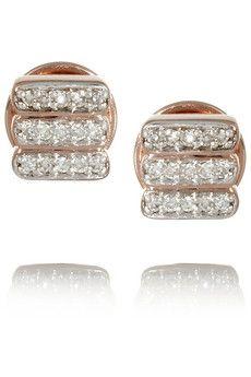 Monica Vinader Skinny rose gold-plated diamond earrings | NET-A-PORTER