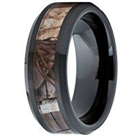 MAZU Men's Tungsten Ring Hunting Camo Comfort Fit Wedding Band Color Black