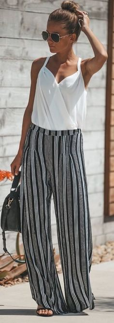 white shirt stitching striped wide leg loose trousers jumpsuit