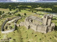 An aerial reconstruction of Conisbrough as it may have appeared in about 1440, looking north