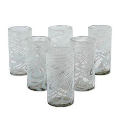 Blown glass highball glasses, 'Whirling White' (set of 6) - Set of 6 Blown Recycled White Highball Glasses from Mexico