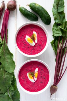 Chłodnik litewski, cold borscht - cold beet and kefir soup with cucumber, radish and dill.