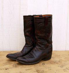 7e9f07ba Vintage Lucchese Western Boots, Oxblood, Black Cherry, Men's 10 B