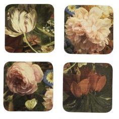 Flamboyants et spectaculaires, ces dessous de verre sont imprimés d'un motif de fleur flamande aux tons profonds.