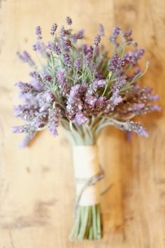 Don't want a huge bouquet? Lavender is a simple, romantic idea. Plus you can dry it and store it with your dress. That sweet smell will help you remember your special day.