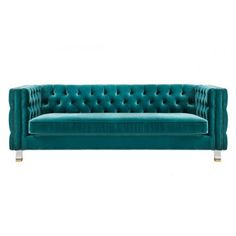 Turquoise Green Velvet All Over Tufted Square Edged Sofa Velvet Furniture, Green Furniture, Furniture Legs, Cheap Furniture, Furniture Stores, Blue Dining Room Chairs, Leather Dining Room Chairs, Lounge Chair Design, Sofa Design