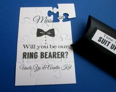 Will you Be our Ring Bearer Card, Be My Groomsman Puzzle card ,Best Man Invitation, Ask Groomsman, Best Man Proposal Card This listing is for One puzzle proposal card finished nicely with an organza bag The personalized Puzzle proposal card is a super cool and unique way to ask yourRing Bearer, Best Man, Groomsman to give you a Strong Mans support on your Big Day! :) The script text is printed in black. - The puzzles are printed on 2 ply x 250 gsm luxury shimmer heavy cardstock. - Size: 4…