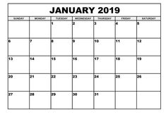 24 Best January 2019 Printable Calendar Images