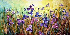 """Original Contemporary Large Art Painting.Impasto.Modern.Art Deco,Knife.Wild Irises.36"""".Gallery Wrapped Canvas -  by Nata S."""