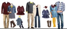 Two families together fall photo outfits - navy blue, burgundy, with yellow accents. All on the cheap side: Target or Old Navy