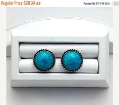 Silver Rope Edged and Turquoise Stone Vintage by Pastfinds on Etsy