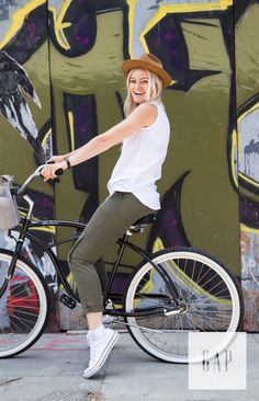 Embrace a carefree lifestyle in Gap joggers. Caitlin Crosby, founder of The Giving Keys, wears her favorite pair for a bike ride around L.A. Shop this look now.
