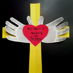"Previous Pinner typed... ""My sis needed a craft for 2yr old Sunday school class valentines project. This is what I came up with. She already had the ""my heart is bursting for Jesus"" part."""