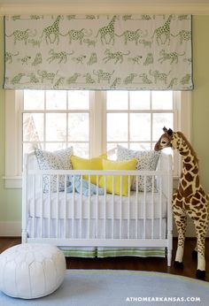 More photos on site - Living Room of Palm residence, designed by Bear Hill Interiors Giraffe Nursery, Nursery Room, Kids Bedroom, Safari Nursery, Yellow Nursery, Nursery Neutral, Neutral Nurseries, Baby Boy Rooms, Baby Boy Nurseries