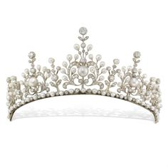 A late Victorian natural pearl and diamond tiara, the tiara comprising five principle sections graduated to the centre, of an ornate openwork scroll  floral design, with a floral drop between each, set throughout with natural pearls  rose-cut  old-cut diamonds, all from a necklet of alternately-set pearls and diamonds, set in silver to a yellow gold mount, with pearl-set snap clasp and safety catch,  c1890