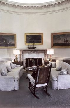 Looking From the Desk to the Fireplace Wall in the President's Office. The painting over the mantel, by Dominic Serres, shows the engagement of the American Bonhomme Richard and the British Serapis. May, 1962.