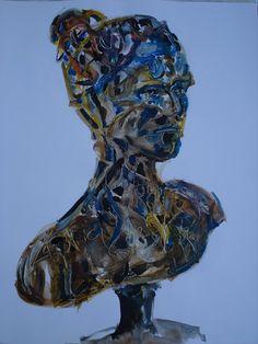 Buste bleu aux écritures Collages, Lion Sculpture, Statue, Art, Blue, Paint, Drawing Drawing, Art Background, Kunst