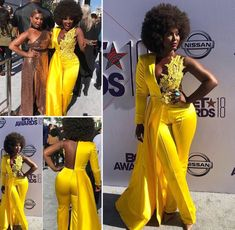 Black Girl Fashion Discover Golden Yellow Red Carpet Jumpsuit Yellow Sparkly Cape Open Back Jumpsuit Jaune Sparkly Cape Open Back Jumpsuit African Attire, African Fashion Dresses, African Dress, Fashion Outfits, Yellow Jumpsuit, Jumpsuit Outfit, Cape Jumpsuit, Shirt Outfit, Hollywood Dress