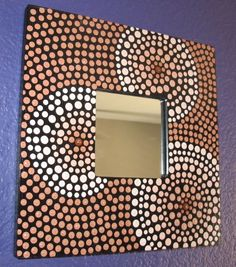 #ThePaintedCabeza ~ Hand Painted Polka Dotted Dots Square Mirror - Ombre Shades of Brown (Chocolate, Tan, Nude Flesh Colored)