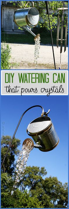 This watering can is a gorgeous staple for your garden decor. It pours crystals that sparkle so beautifully in the sun. This is one amazing garden craft!