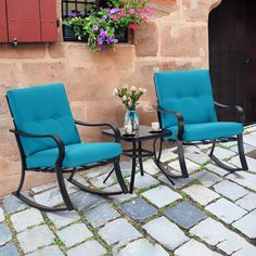 Outdoor Chairs, Outdoor Furniture Sets, Outdoor Decor, X Coffee Table, Blue Cushions, Backyard, Patio, Bistro Set, Glass Table