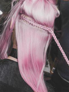 pink pastel hair, braids