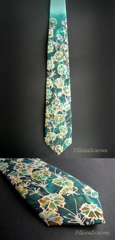 Mens Necktie-Men's SILK Tie-Silk Tie-Field Flowers-Mint tie-Wedding Tie-Mens tie-Mens Gifts-Hand Painted Tie-Handpainted necktie-groomsmen by FilkinaScarves on Etsy