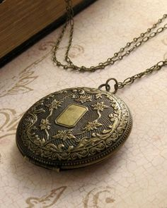 Engraved Floral Locket Necklace Vintage by laurenblythedesigns